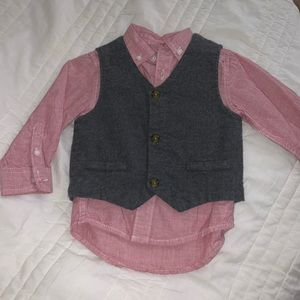 Long sleeve button up with vest